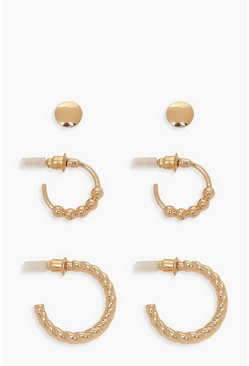 Gold Textured Hoop & Ball Stud 3 Pack