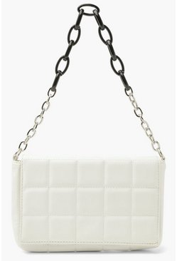 White PU Quilted Cross Body Bag With Chunky Chain