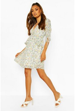Sage Frill Detail Floral Ruched Sleeve Skater Dress