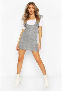Grey Frill Detail High Waisted Pinafore