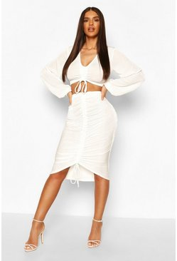 Cream Slinky Ruched Front Top & Skirt Two-Piece