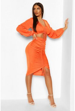Orange Slinky Ruched Front Top & Skirt Co-ord