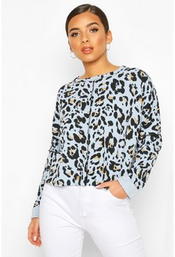 Blue Leopard Print Sweat With Overlock Detail