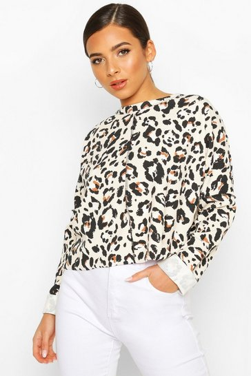 Cream Leopard Print Sweat With Overlock Detail