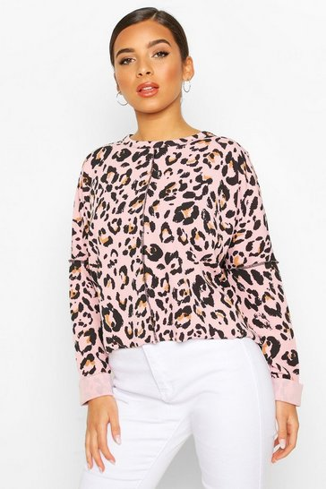 Rose Leopard Print Sweat With Overlock Detail