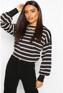 Rose Striped Crew Neck Sweat Top