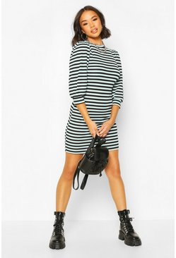 Blue Puff Sleeve Mini Dress In Striped Rib