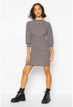 Dusky pink Puff Sleeve Mini Dress In Striped Rib