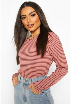 Rose Crew Neck Top In Striped Rib