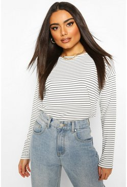 White Crew Neck Top In Striped Rib