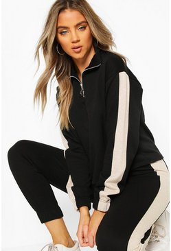 Black Funnel Side Stripe Sweat Top
