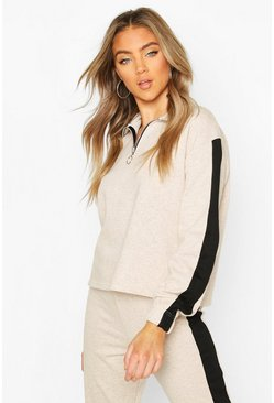 Oatmeal Funnel Side Stripe Sweat Top