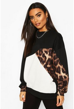 Leopard Colour Block Oversize Sweat, Black