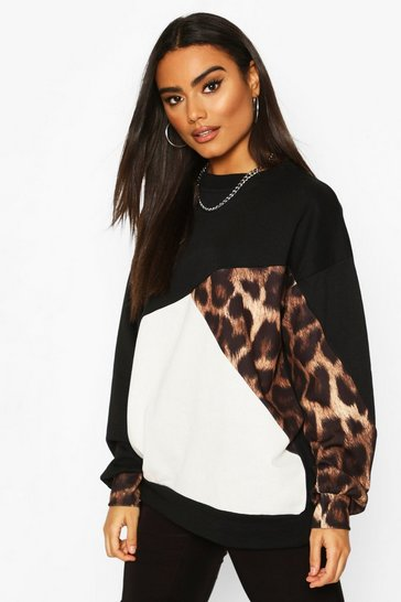 Black Leopard Colour Block Oversize Sweat