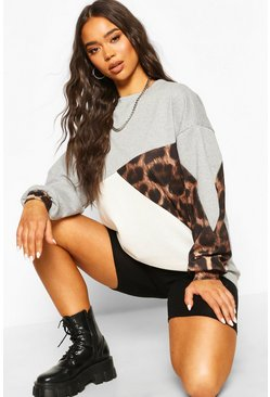 Leopard Colour Block Oversize Sweat, Grey marl