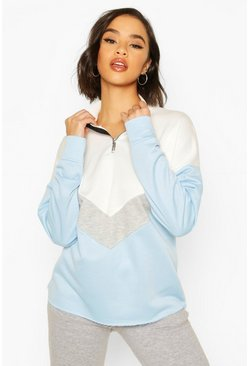 Blue Chervron Colour Block Zip High Neck Sweatshirt