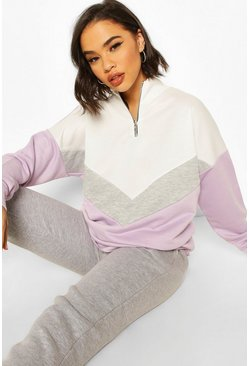 Chervron Colour Block Zip High Neck Sweatshirt, Lilac