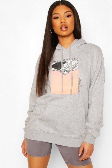 Grey marl Mountain Photo Print Hoody