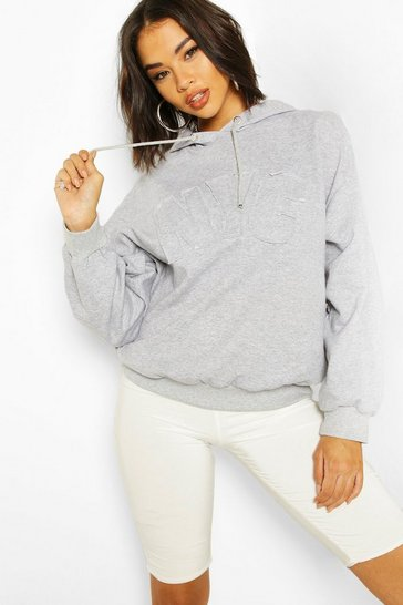 Grey marl NYC Embroidered Oversized Hoody