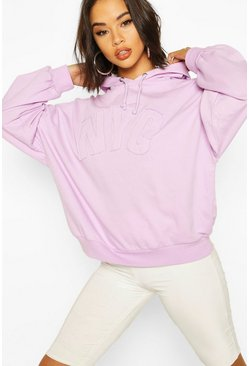 Lilac NYC Embroidered Oversized Hoody