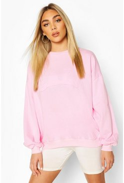 Baby pink Cali Embroidedered Oversized Sweat