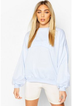 Sweat oversize brodé California, Bleuet