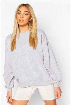 Grey marl Cali Embroidedered Oversized Sweat