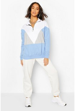 Blue Colour Block Half Zip Sweater