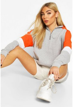 Orange Half Zip Colour Block Arm Hoodie