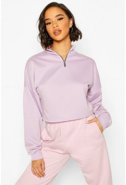 Lilac Rib High Neck Zip Crop Sweatshirt