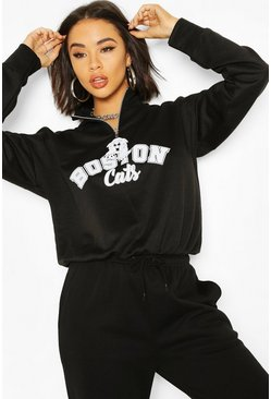 Black Graphic Zip High Neck Crop Sweatshirt