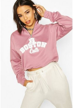 Rose Graphic Zip High Neck Crop Sweatshirt