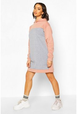 Grey Colour Block Hoody Dress
