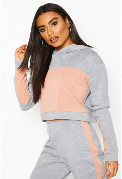 Grey Colour Block Boxy Hoody