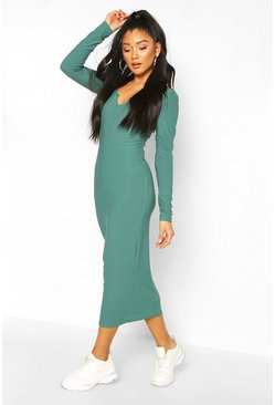 Teal Soft Rib Washed Midaxi Dress