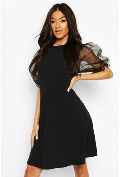 Black Rib Organza Sleeve Skater Dress