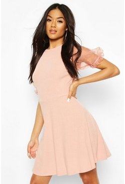 Blush Rib Organza Sleeve Skater Dress