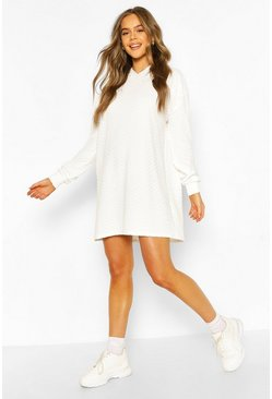 Ecru Quilted Hooded Sweat Dress