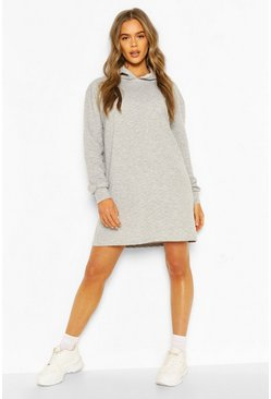 Grey marl Quilted Hooded Sweat Dress