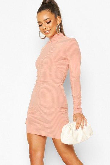 Apricot Soft Rib High Neck Seam Detail Mini