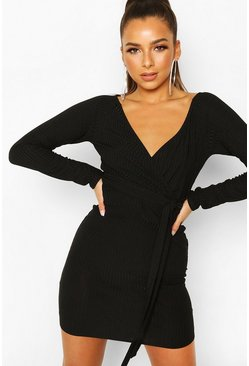 Rib Wrap Off The Shoulder Belted Mini Dress, Black