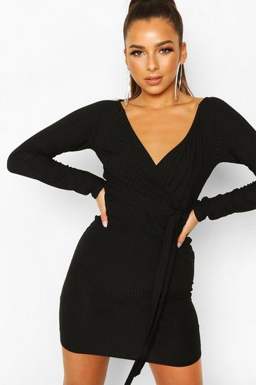 Black Rib Wrap Off The Shoulder Belted Mini Dress