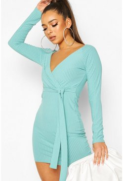 Rib Wrap Off The Shoulder Belted Mini Dress, Turquoise