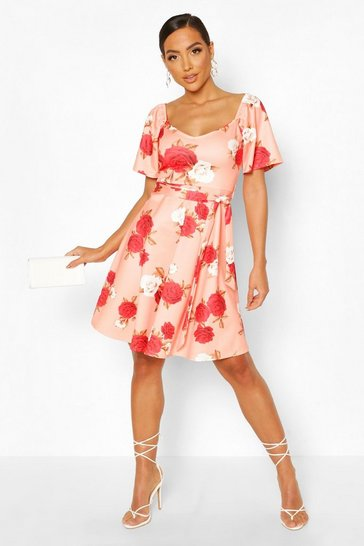 Pink Square Neck Belted Floral Skater Dress