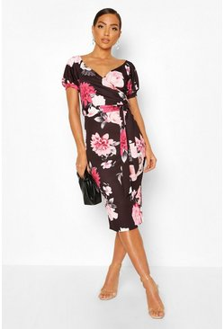 Black Bardot Puff Sleeve Belted Midi Dress