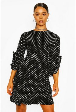 Black Polka Dot Ruffle Sleeve Smock Dress