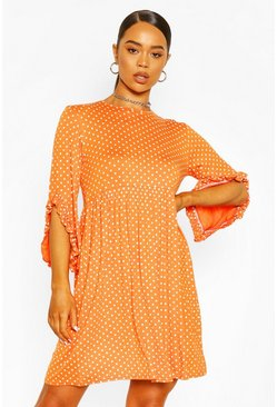 Orange Polka Dot Ruffle Sleeve Smock Dress
