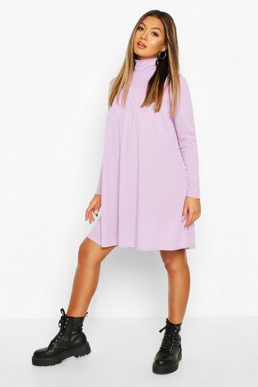 Lilac Rib High Neck Long Sleeve Smock Dress