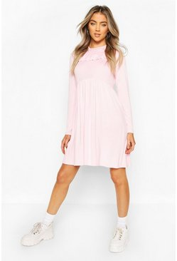 Baby pink Ruffle Long Sleeve Smock Dress