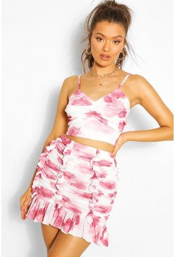 Pink Floral Mesh Ruched Crop Top